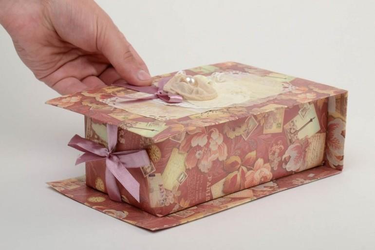 Как оформить коробку бумагой