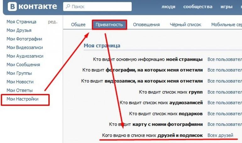 Как скрыть друга вконтакте: настройки приватности через телефон и компьютер