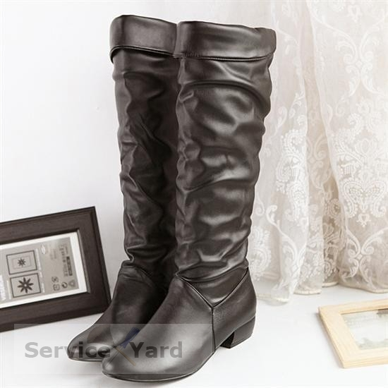 watermarked - Women-Boots-High-Leg-Flat-Heel-Boots-Hot-Selling-Fashion-Women-Snow-Shoes-Women-Motorcycle-Boots