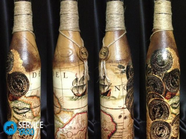 Декупаж бутылок салфетками своими руками