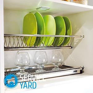 Установка сушилки для посуды в шкаф