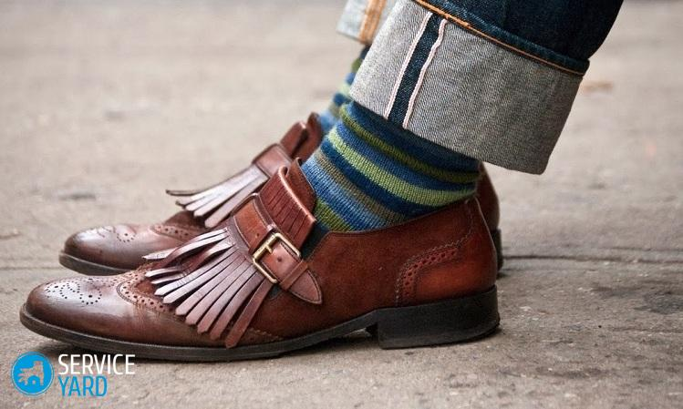 Уход за обувью Denim-striped-socks-congac-shoes-leather-style-men
