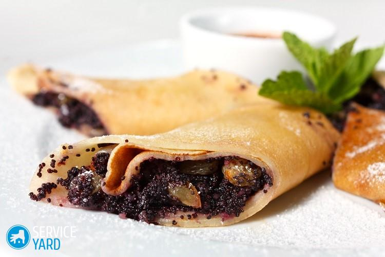 Pancakes with Poppy Seeds close-up. A delicious dessert