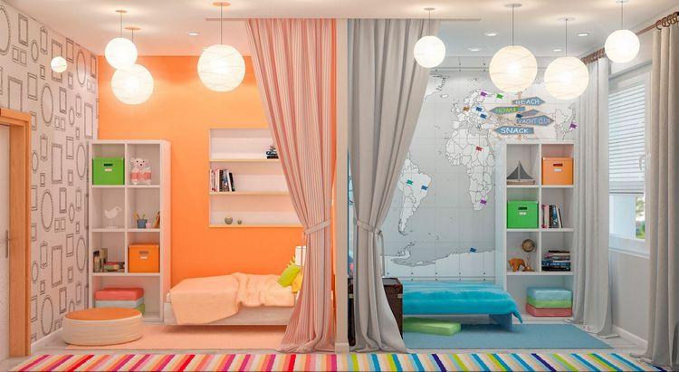 Яркий пример разделения комнаты на 2 половины