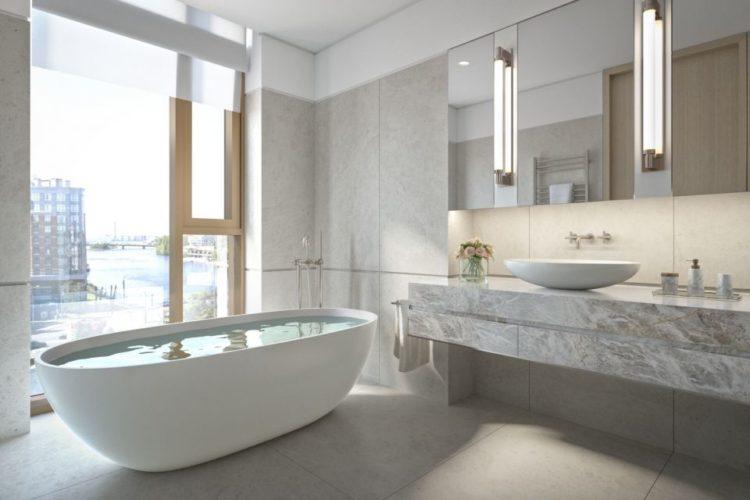 Интерьер большой ванной комнаты