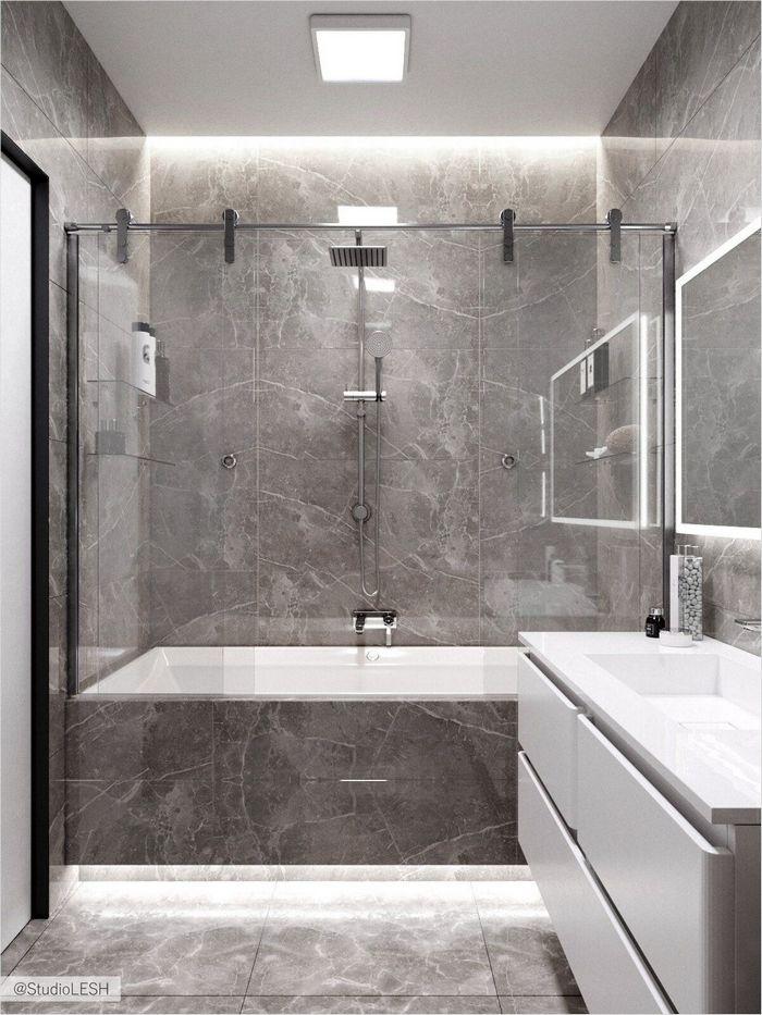 Дизайн серой ванной комнаты